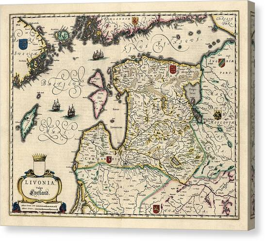Old Canvas Print - Antique Map Of Estonia Latvia And Lithuania By Willem Janszoon Blaeu - 1647 by Blue Monocle