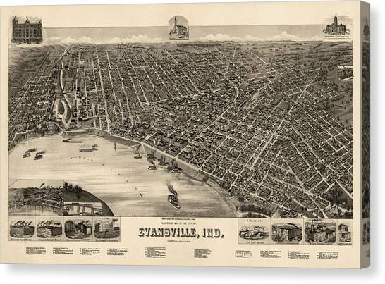 Evansville Canvas Print - Antique Map Of Evansville Indiana By H. Wellge - 1888 by Blue Monocle