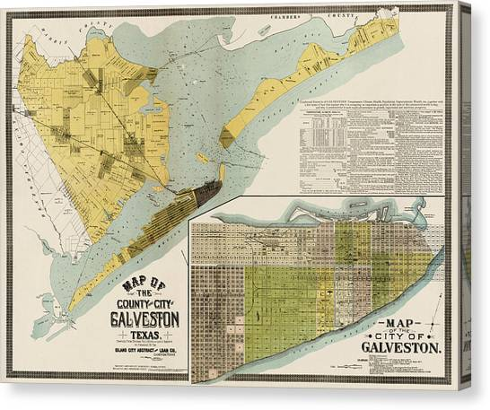 Antique Map Of Galveston Texas By The Island City Abstract And Loan Co. - 1891 Canvas Print