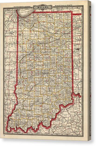Antique Map Of Indiana By George Franklin Cram - 1888 Canvas Print