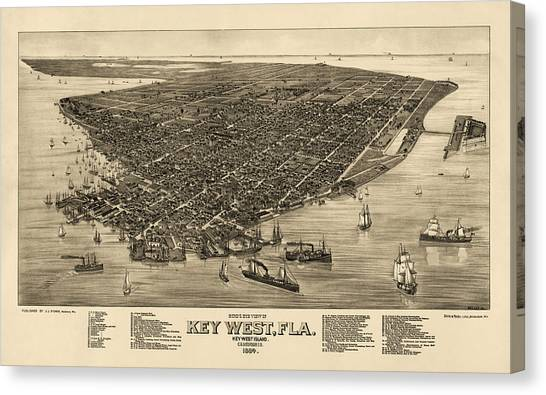 Map Canvas Print - Antique Map Of Key West Florida By J. J. Stoner - 1884 by Blue Monocle
