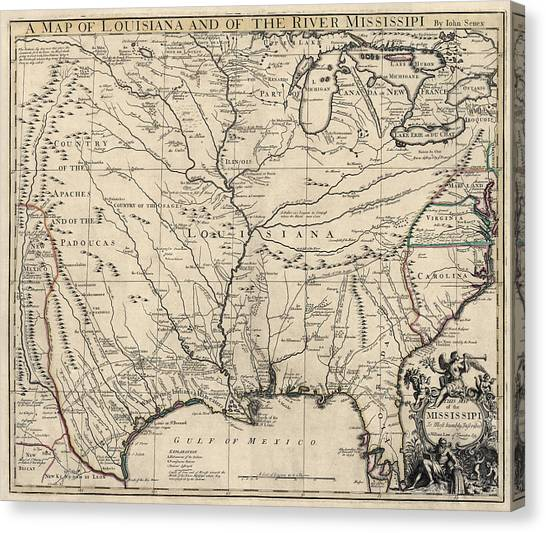 Mississippi River Canvas Print - Antique Map Of Louisiana And The Mississippi River By John Senex - 1721 by Blue Monocle