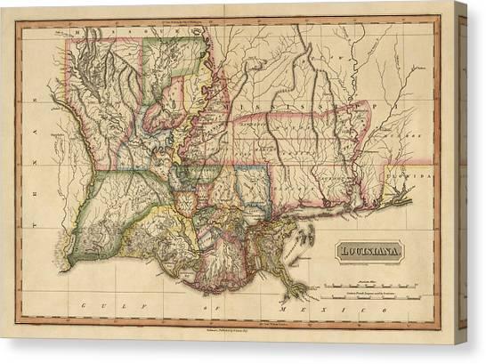 Antique Map Of Louisiana By Fielding Lucas - Circa 1817 Canvas Print