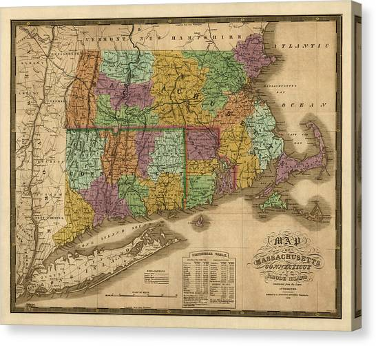 Connecticut Canvas Print - Antique Map Of Massachusetts Connecticut And Rhode Island By Samuel Augustus Mitchell - 1831 by Blue Monocle