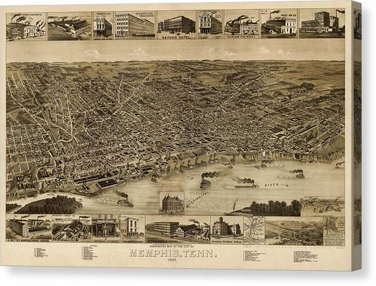 Antique Map Of Memphis Tennessee By H. Wellge - 1887 Canvas Print