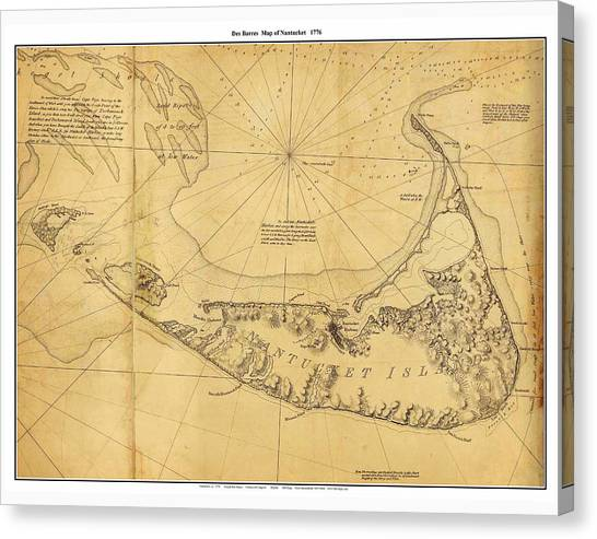 Antique Map Of Nantucket Canvas Print