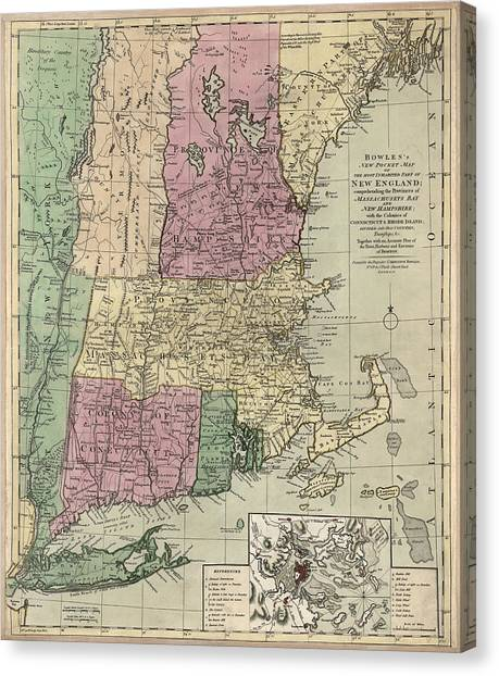 New Hampshire Canvas Print - Antique Map Of New England By Carington Bowles - Circa 1780 by Blue Monocle