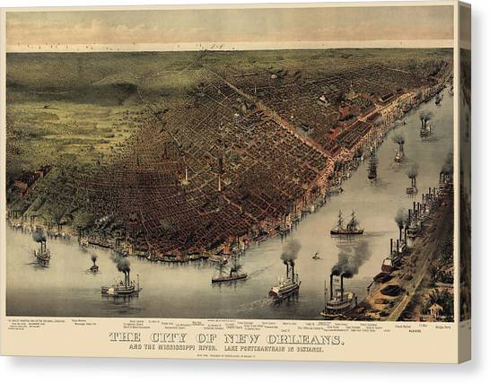 Louisiana Canvas Print - Antique Map Of New Orleans By Currier And Ives - Circa 1885 by Blue Monocle