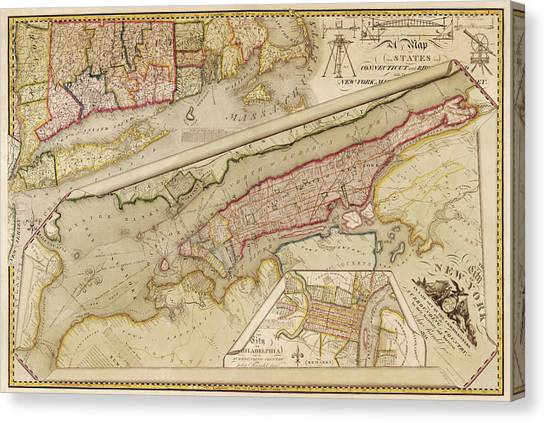 Antique Map Of New York City By John Randel - 1821 Canvas Print by Blue Monocle