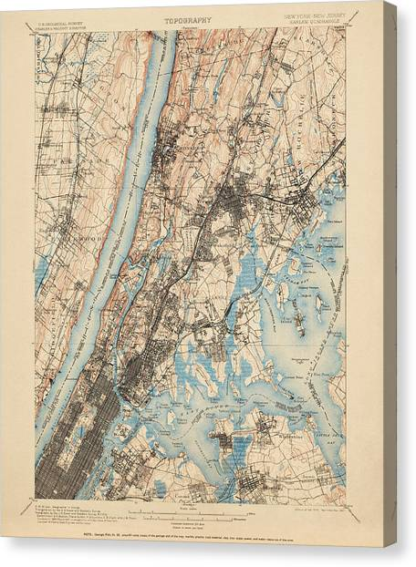 Harlem Canvas Print - Antique Map Of New York City - Usgs Topographic Map - 1900 by Blue Monocle