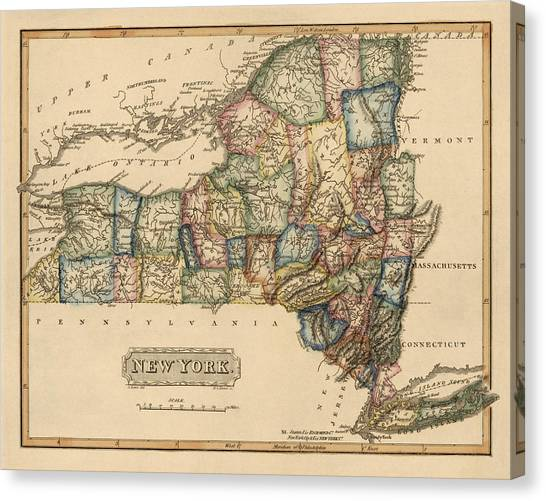 New York Canvas Print - Antique Map Of New York State By Fielding Lucas - Circa 1817 by Blue Monocle