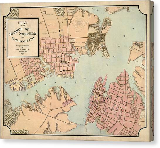 Portsmith Virginia Map.Antique Map Of Norfolk And Portsmouth Virginia By Charles E Cassell