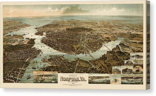 Antique Map Of Norfolk And Portsmouth Virginia By H. Wellge - 1892 Canvas Print by Blue Monocle