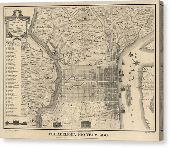 Philadelphia Canvas Print - Antique Map Of Philadelphia By P. C. Varte - 1875 by Blue Monocle