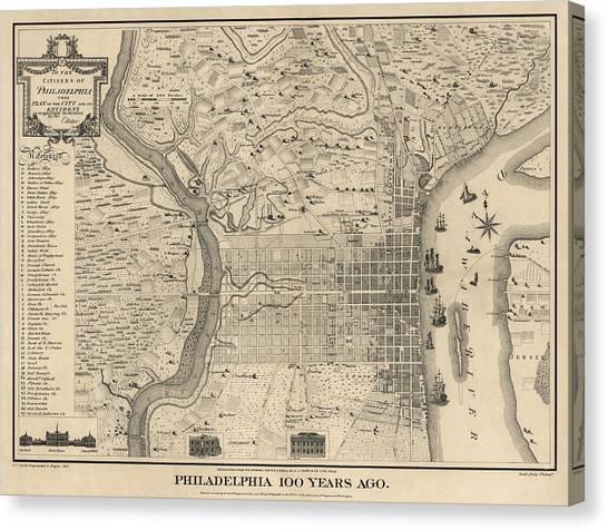 Pennsylvania Canvas Print - Antique Map Of Philadelphia By P. C. Varte - 1875 by Blue Monocle