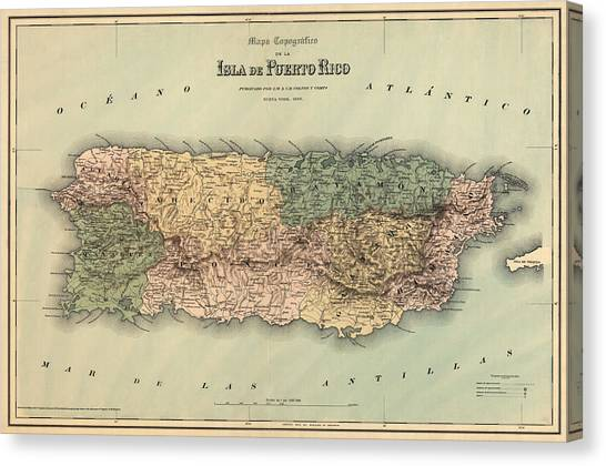 Puerto Canvas Print - Antique Map Of Puerto Rico - 1886 by Blue Monocle