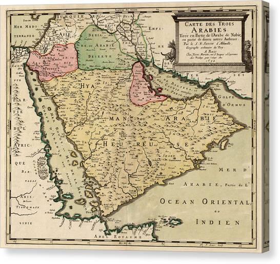 Kuwait Canvas Print - Antique Map Of Saudi Arabia And The Arabian Peninsula By Nicolas Sanson - 1654 by Blue Monocle
