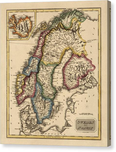 Old Canvas Print - Antique Map Of Scandinavia By Fielding Lucas - Circa 1817 by Blue Monocle