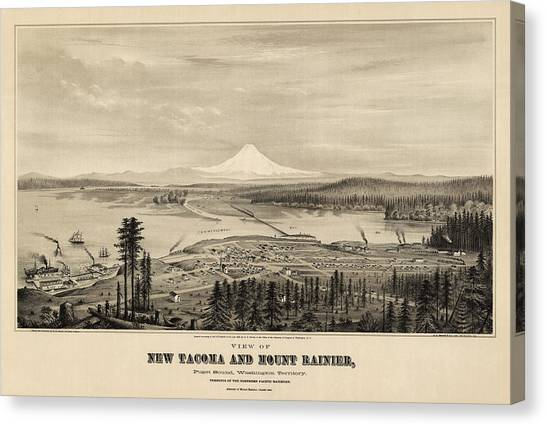 Mount Rainier Canvas Print - Antique Map Of Tacoma Washington By E.s. Glover - 1878 by Blue Monocle