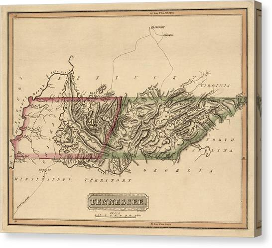 Antique Map Of Tennessee By Fielding Lucas - Circa 1817 Canvas Print by Blue Monocle