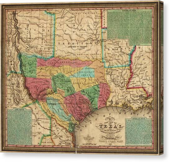 Antique Map Of Texas By James Hamilton Young - 1835 Canvas Print