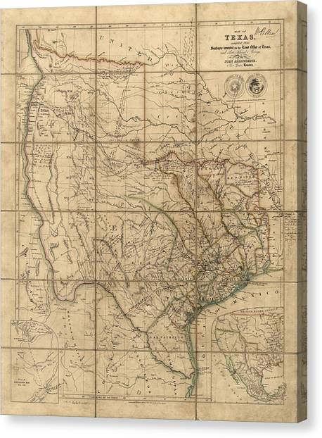 Antique Map Of Texas By John Arrowsmith - 1841 Canvas Print by Blue Monocle