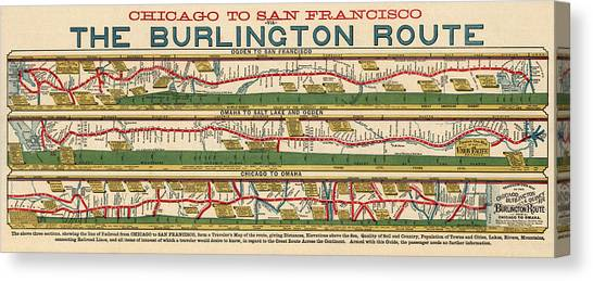 Old Canvas Print - Antique Map Of The Burlington Route By H. R. Page And Co. - Circa 1879 by Blue Monocle