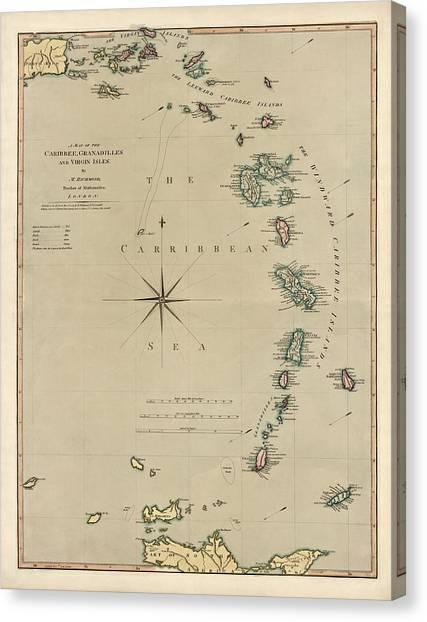 Antique Map Of The Caribbean - Lesser Antilles - By Mathew Richmond - 1789 Canvas Print