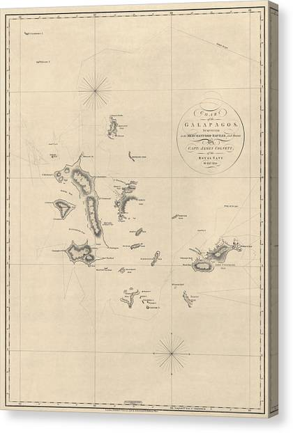 Antique Map Of The Galapagos Islands By James Colnett - 1798 Canvas Print