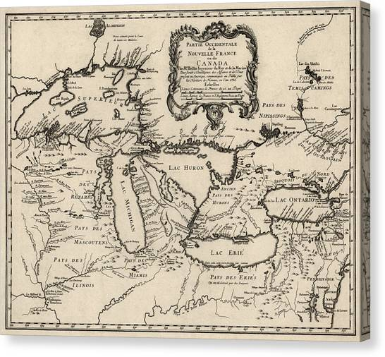 Lake Michigan Canvas Print - Antique Map Of The Great Lakes By Jacques Nicolas Bellin - 1755 by Blue Monocle