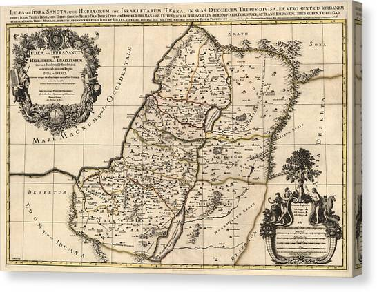 Palestinian Canvas Print - Antique Map Of The Holy Land By Alexis Hubert Jaillot - 1696 by Blue Monocle