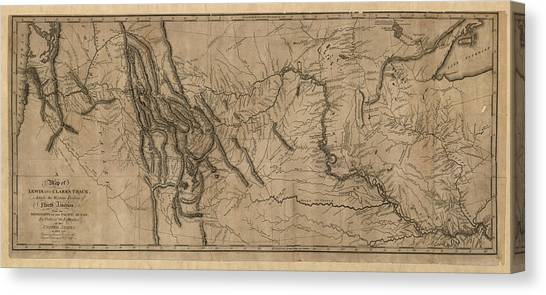 Iowa Canvas Print - Antique Map Of The Lewis And Clark Expedition By Samuel Lewis - 1814 by Blue Monocle