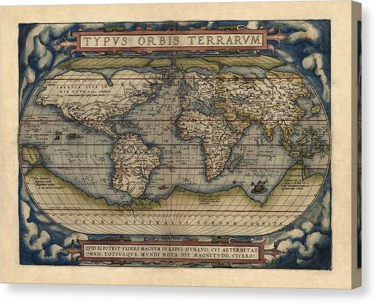 Antique Map Of The World By Abraham Ortelius - 1570 Canvas Print