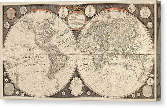 Antique Map Of The World By Thomas Kitchen - 1799 Canvas Print