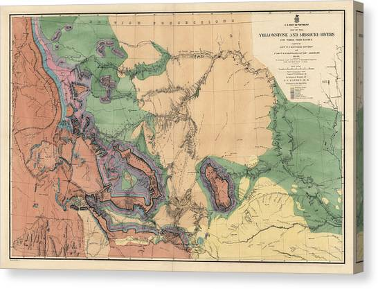 Yellowstone National Park Canvas Print - Antique Map Of The Yellowstone And Missouri Rivers By F. V. Hayden - 1869 by Blue Monocle