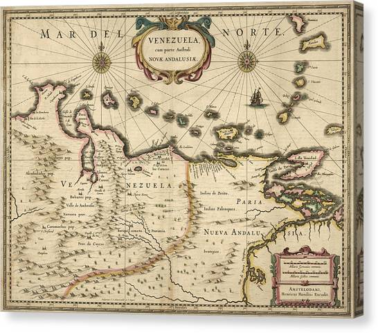 Venezuelan Canvas Print - Antique Map Of Venezuela By Hendrik Hondius - 1630 by Blue Monocle
