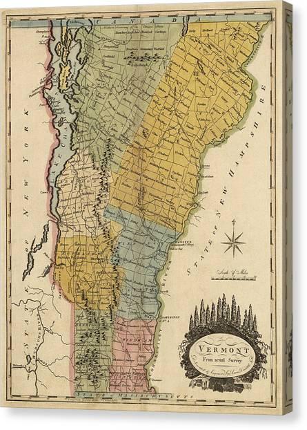 Vermont Canvas Print - Antique Map Of Vermont By Mathew Carey - 1814 by Blue Monocle