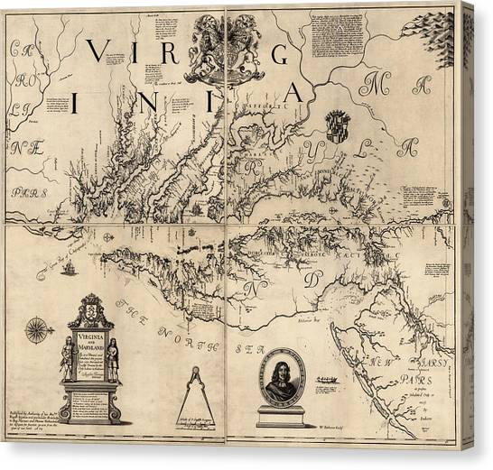 Antique Map Of Virginia And Maryland By Augustine Herrman - 1673 Canvas Print