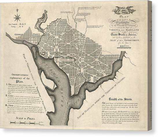 District Of Columbia Canvas Print - Antique Map Of Washington Dc By Andrew Ellicott - 1792 by Blue Monocle