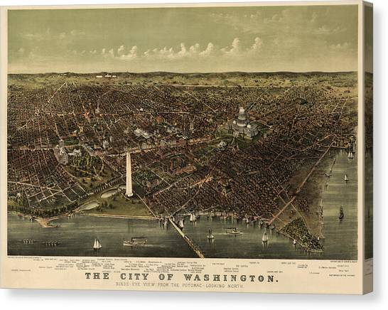 Antique Map Of Washington Dc By Currier And Ives - Circa 1892 Canvas Print