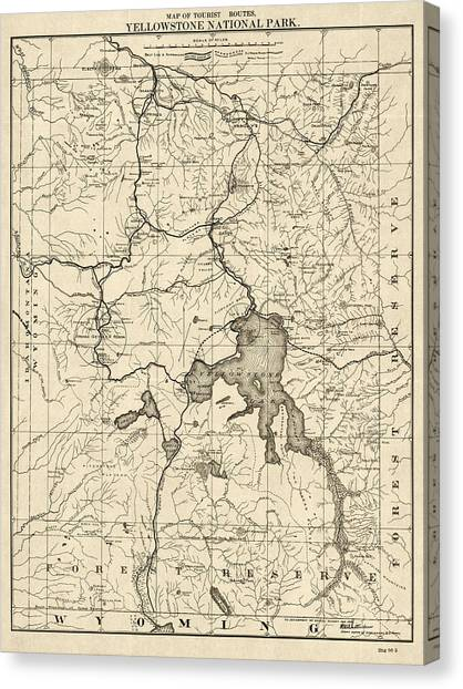 Yellowstone National Park Canvas Print - Antique Map Of Yellowstone National Park By The U. S. War Department - 1900 by Blue Monocle