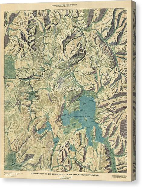 Yellowstone National Park Canvas Print - Antique Map Of Yellowstone National Park By The Usgs - 1915 by Blue Monocle