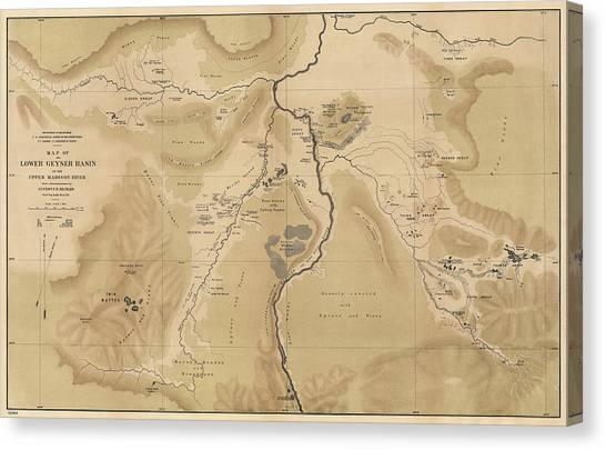 Yellowstone National Park Canvas Print - Antique Map Of Yellowstone National Park - Lower Geyser Basin - 1872 by Blue Monocle