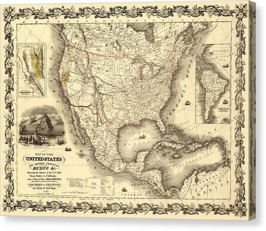 Antique North America Map Canvas Print