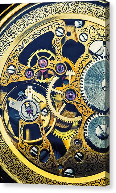 Analog Canvas Print - Antique Pocket Watch Gears by Garry Gay