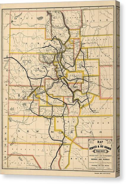 New Mexico Map Canvas Print - Antique Railroad Map Of Colorado And New Mexico By S. W. Eccles - 1881 by Blue Monocle
