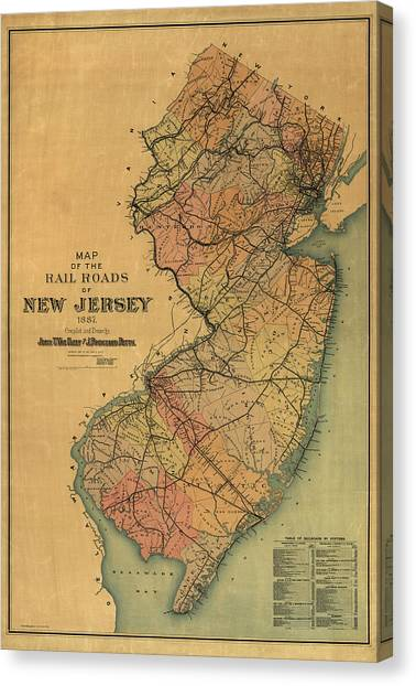 Train Canvas Print - Antique Railroad Map Of New Jersey By Van Cleef And Betts - 1887 by Blue Monocle