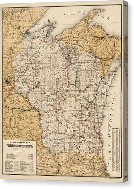 Antique Railroad Map Of Wisconsin - 1900 Canvas Print