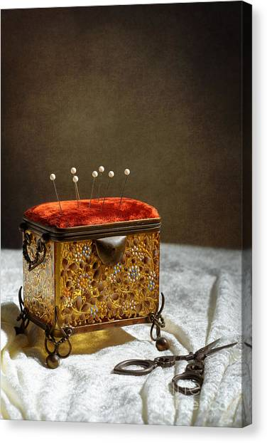 Pin Cushion Canvas Print - Antique Sewing Casket by Amanda Elwell