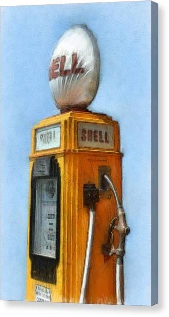 Antique Shell Gas Pump Canvas Print